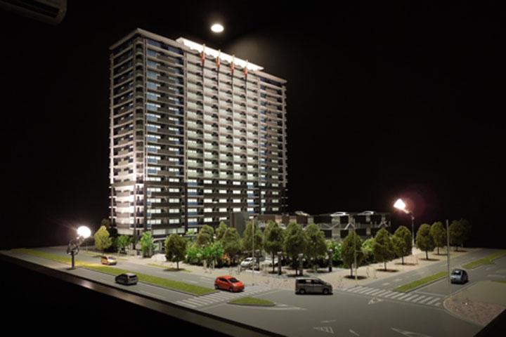 浄水駅前のマンション外観模型