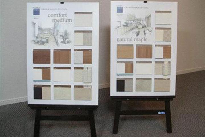 マンションギャラリーに展示するカラーセレクトの実物サンプル