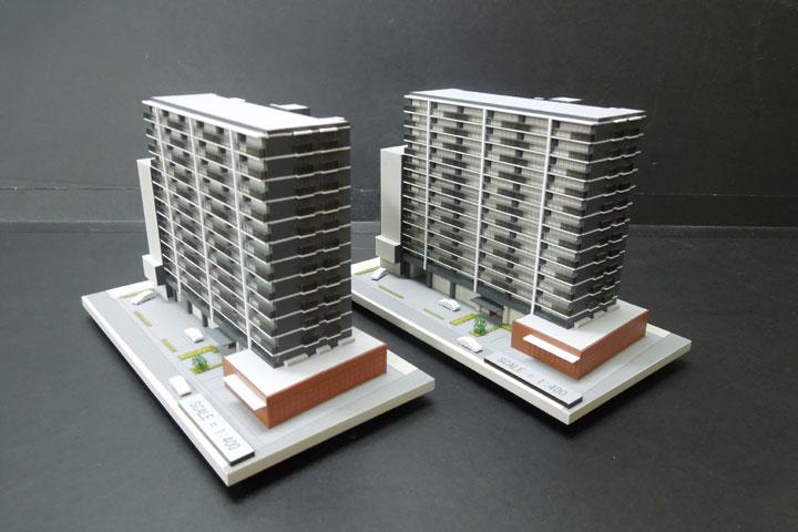 商談用の机で使用できる小型の建築模型