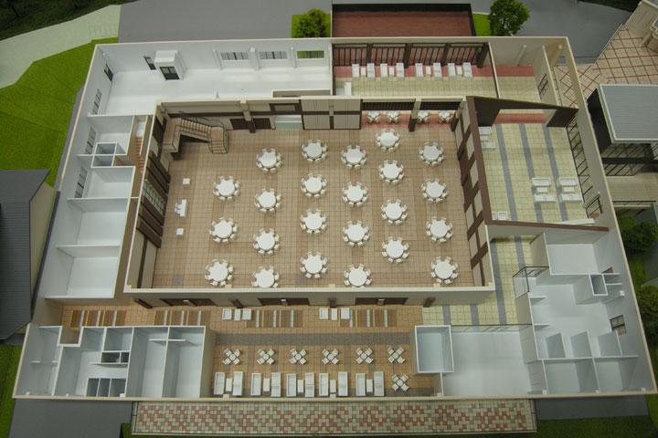 新白河の結婚式場の内観模型