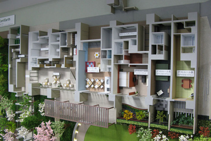 立て掛け式のマンションの内観模型