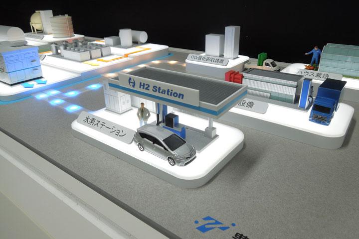 生活排水から出る下水汚泥から水素を製造して、車の燃料にするまでの流れを説明する模型