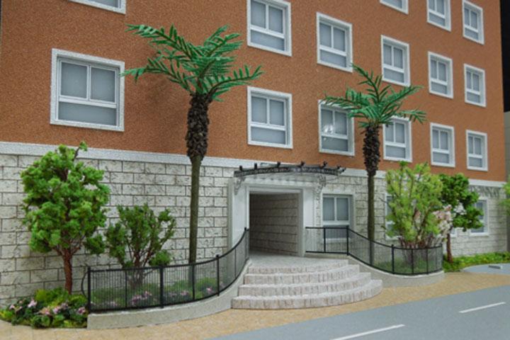 外壁吹付の表情を再現した建築模型