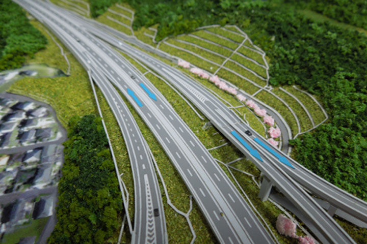四日市のジャンクションの土木模型