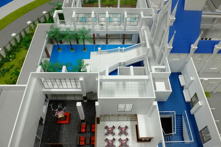 フランベルアムールの結婚式場の建築模型