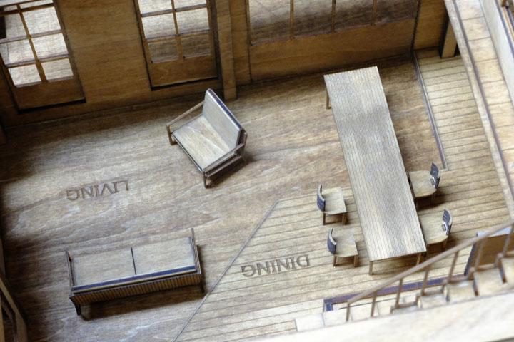 木材でつくられた建築模型