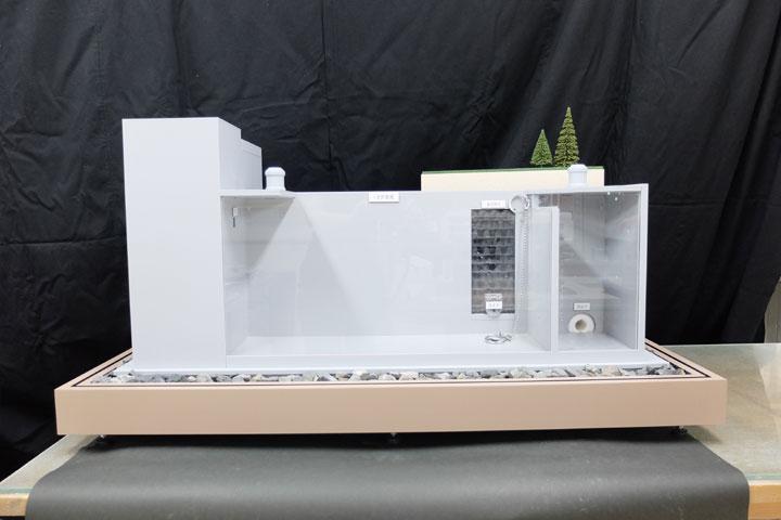 雨水を貯留するシステムの展示模型