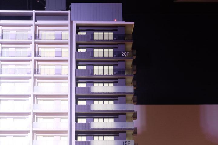 名鉄名古屋本線知立駅の目の前に建つタワーマンションの外観模型