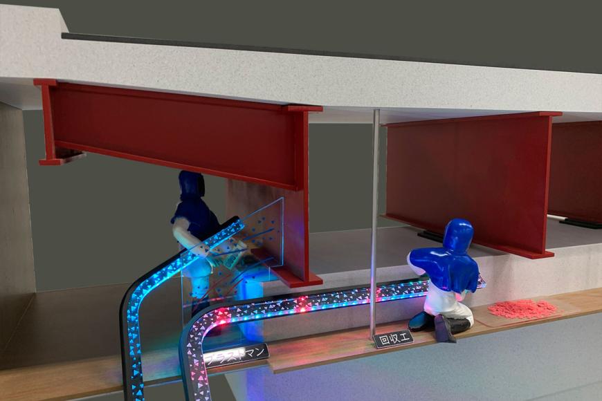 橋梁工事の展示模型
