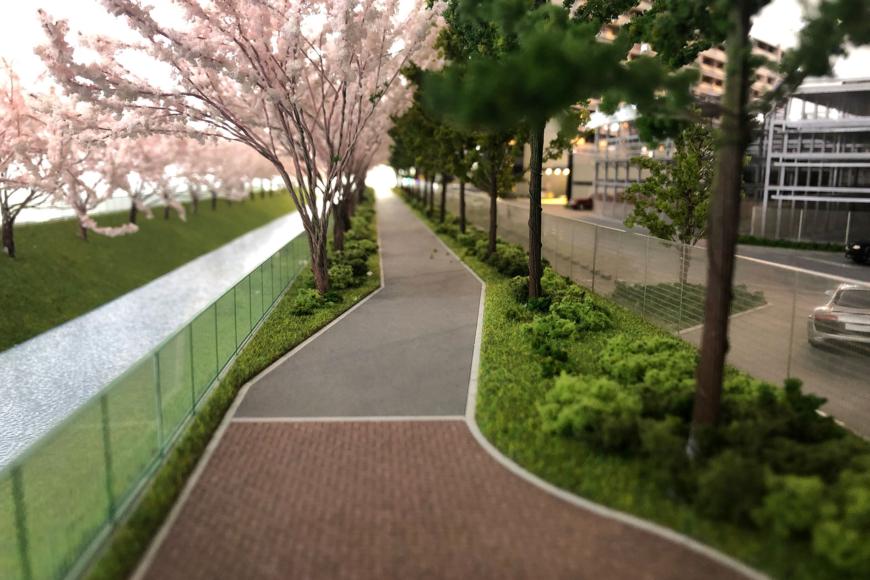 桜並木の建築模型